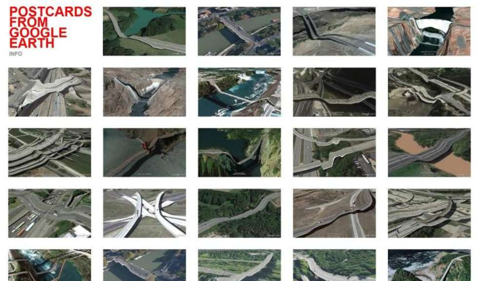 Brücken hängen durch oder zerfließen zu breiigen Konstrukten. Wenn der Algorithmus von Google Earth Daten interpretiert, kommt es manchmal zu sehenswerten Anomalien. Screenshot: postcards-from-google-earth.com Foto: postcards-from-google-earth.com